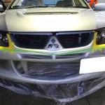ヘッドライトレンズ磨き 三菱ランサー施工事例
