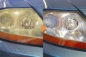 欧州車のひどくかさついたヘッドライトも復元