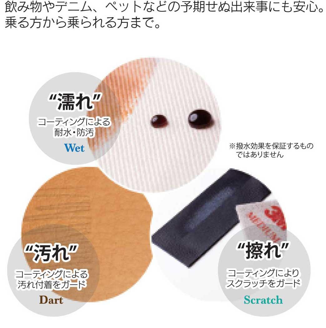 革シートコーティング クリアガードの防汚性能。濡れ、汚れ、擦れから守ってくれます。
