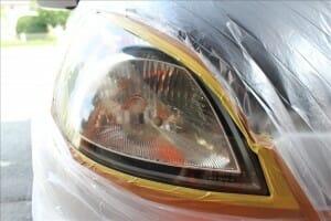ヘッドライト アイライン後と黄ばみ除去
