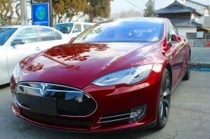 テスラ(Tesla Model S) ガラスコーティング 施工例