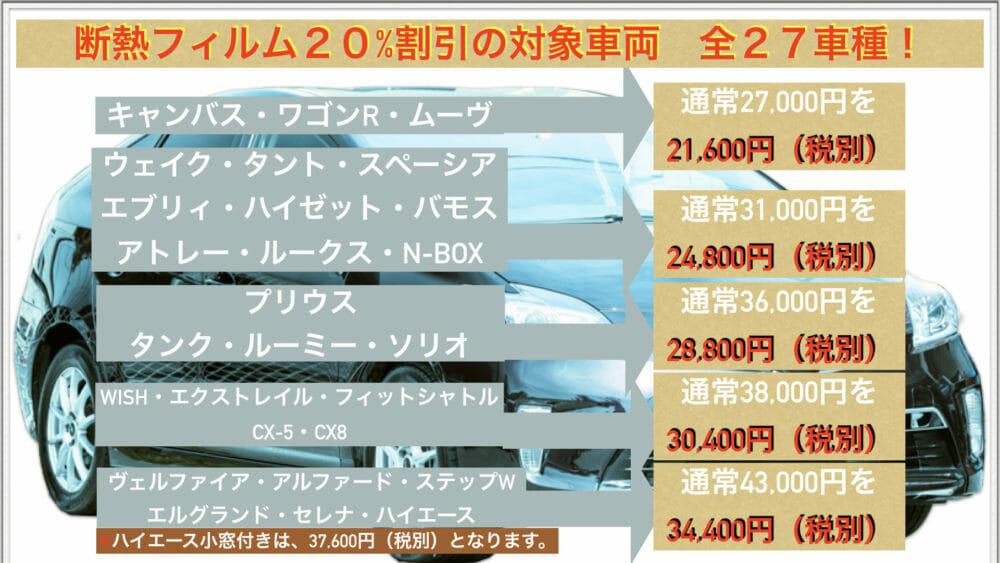 断熱カーフィルム施工の20%割引対象車種は、ウエイク・タント・スペーシア・エヴリィ・ハイゼット・バモス・アトレー・ルークス・N-BOX・キャンバス・ワゴンR・ムーヴ・プリウス・タンク・ルーミー・ソリオ・WISH・エクストレイル・フィットシャトル・CX-5・CX-8・ヴェルファイア・アルファード・ステップワゴン・エルグランド・セレナ・ハイエース、27車種となります。