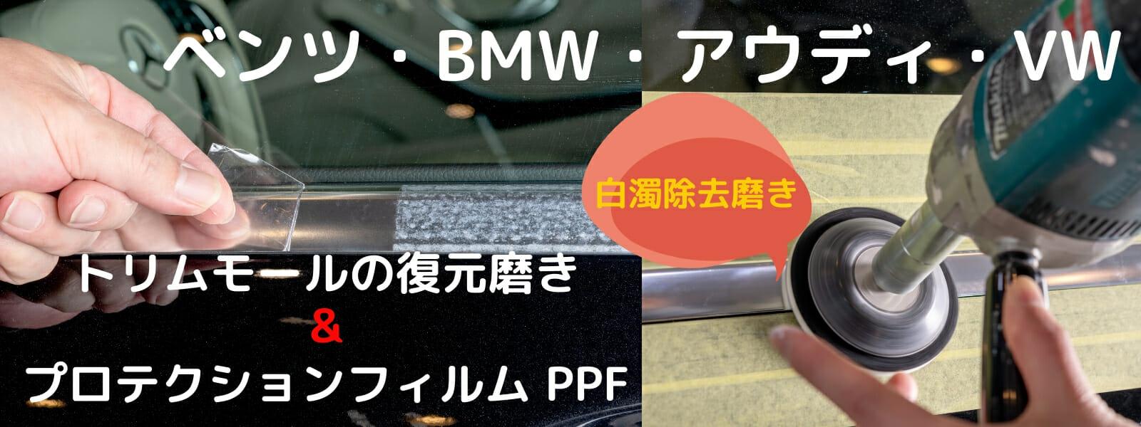 欧州車のトリムモール(アルミモール)の復元磨きと保護プロテクションフィルム施工 PPF